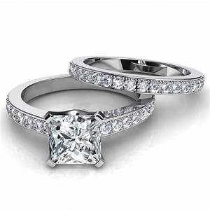 novo princess cut engagement ring and wedding band bridal set With princess wedding rings sets