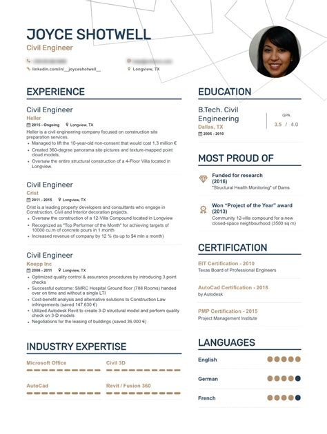 resume samples  civil engineer   philippines