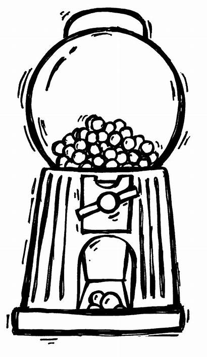 Gumball Coloring Machine Gum Bubble Clipart Drawing