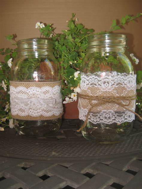 burlap lace mason jar quot sleeves quot summer wedding rustic