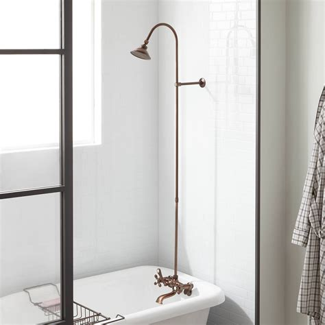 exposed pipe shower tub faucet  watering  shower