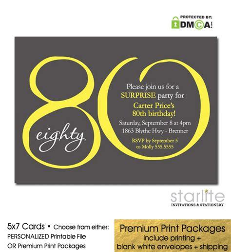 80th Birthday Invitation Modern Number 80 shower