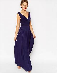 lyst asos wedding cowl neck maxi dress in blue With dressy maxi dresses for wedding
