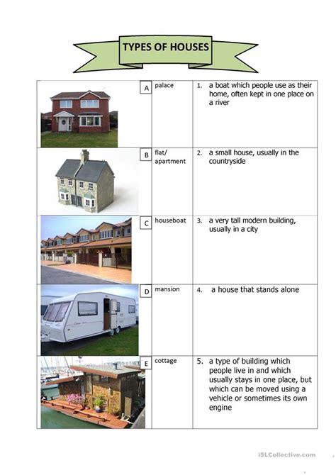 types  houses worksheet  esl printable worksheets