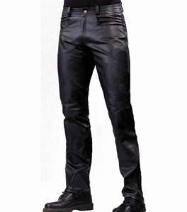 Pantalon jeans cuir agneau noir homme, modèle Dialo