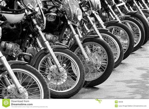 Cop Motorcycle Lineup At Protest Stock