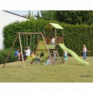 Balancoire Bois Toboggan : aire de jeux portique bois lombarde balan oire toboggan ~ Premium-room.com Idées de Décoration