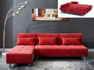 Canape Angle Rouge : canap angle convertible microfibre gris ou rouge marli ii ~ Teatrodelosmanantiales.com Idées de Décoration