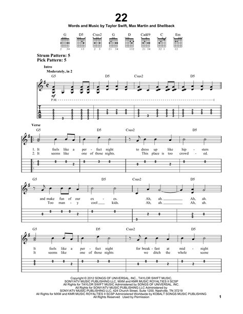 22 Sheet Music   Taylor Swift   Easy Guitar Tab