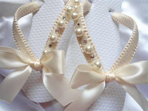 flower girl ivory shoes decorated flip flops  girls