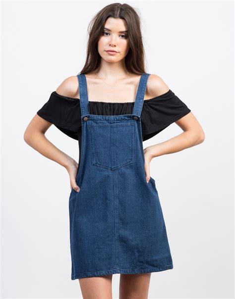 Denim Overall Dress - White Denim Dress - Blue Denim Dress ...
