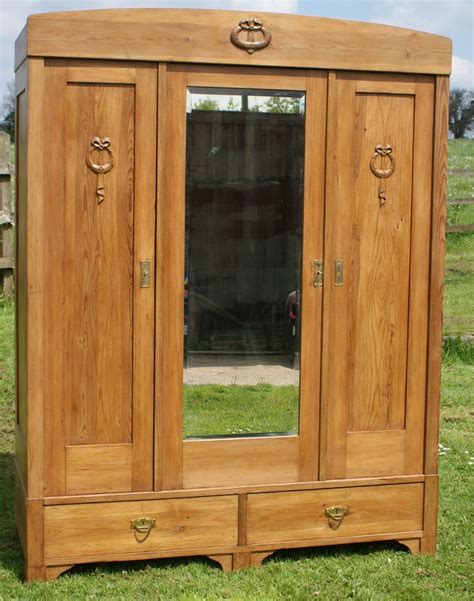 Solid Pine Wardrobe by A 19th Century Large Antique German Solid Pine Armoire