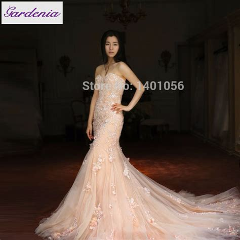 6585 pink lace wedding dress actual image mermaid backless wedding dress court 6585
