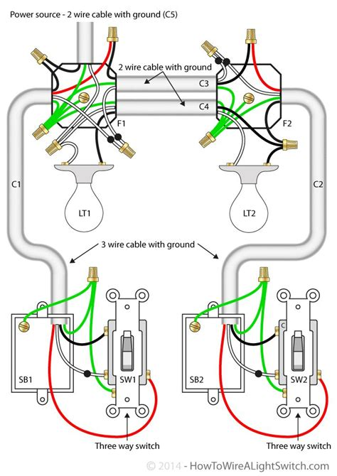 sb2 3 way switch 2 lights wiring diagram with cable with