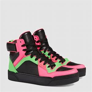 Lyst Gucci New Basketball Neon High top Sneaker in Green