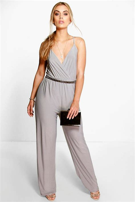 ebay jumpsuit boohoo womens plus caitlyn strappy wrap front jumpsuit ebay
