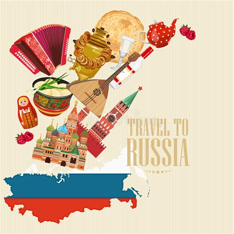 Russia Vector Poster Russian Background With Map Travel
