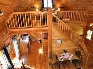 Small log cabins with lofts log cabin with loft bedroom for Log homes interior designs 2