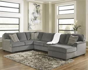 Ashley furniture loric smoke contemporary 3 piece for Small sectional sofa ashley furniture