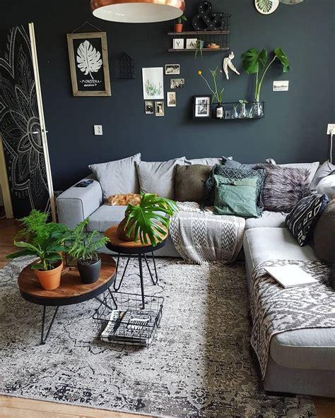 living room boho urban jungle mostera green dark plants