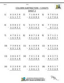 free printable math worksheets 4th grade 5 digit subtraction worksheets