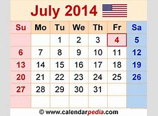 July 2014 Calendars for Word, Excel & PDF