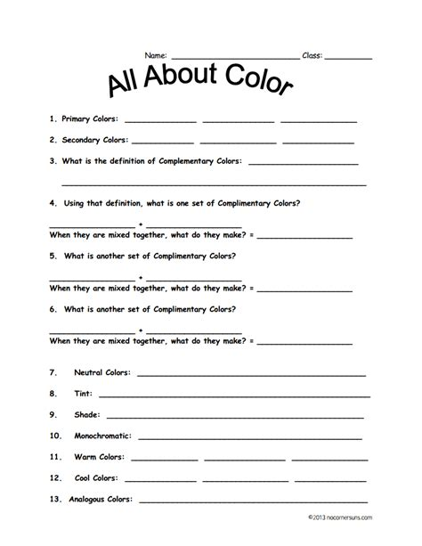 color theory worksheet for fourth grade line color