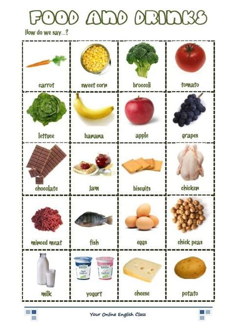 Vocabulary Food And Drink Exercises  English Language  Pinterest  English, Healthy Food And