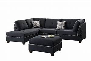 contemporary sectional sofa and ottoman set black With mancini modern sectional sofa and ottoman set