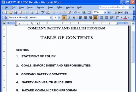policies  procedures safety  environment templates