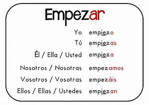 Conocer Verb Chart Empezar E Gt Ie Learning Spanish Spanish Lessons