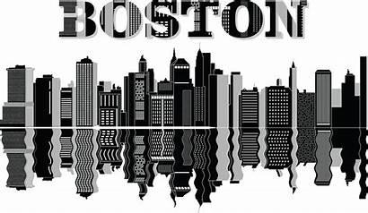 Boston Skyline Clipart Reflecting Svg