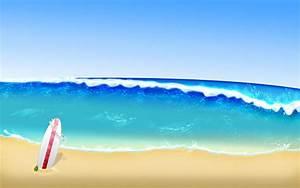 Cartoon Beach Waves Wallpaper