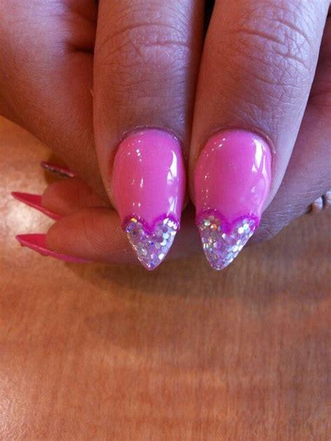 gelnägel glitzer glitter nails pink gel sharp gel nails