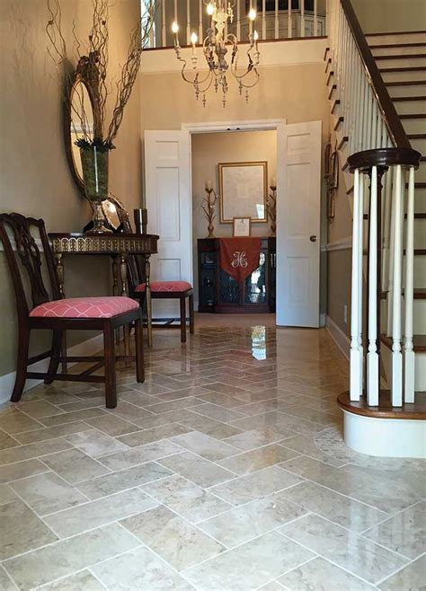 Stunning entryway with Crema Cappuccino Polished 6x12 tile