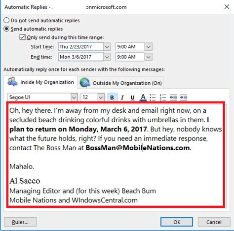 master outlooks   office automatic replies