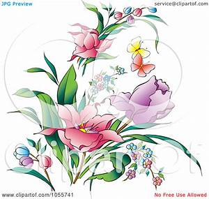 Butterfly clipart spring flower - Pencil and in color ...