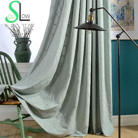 buy best blue beige rhyme cotton embroidery curtain fabric
