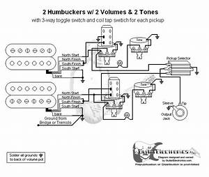 Guitar Wiring Diagram 2 Humbuckers  3 2 Volumes  2 Tones  Individual Coil Taps In