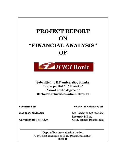 project report  financial analysis  icici bank