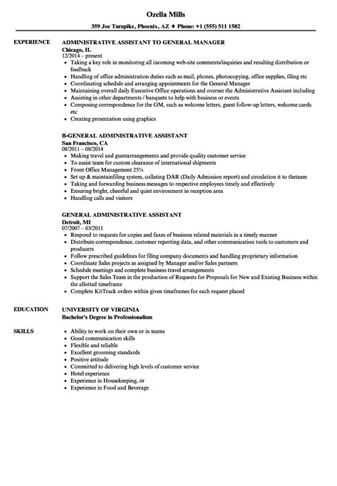 Best resume objective examples examples of some of our best resume objectives, including resume samples, free to use for if you are writing a resume or cv for a personal assistant job, your objective statement can make a great difference on the strength and ability of your resume to get you. General Assistant Resume Samples | Velvet Jobs