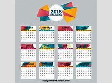 2018 calendar with polygonal shapes Vector Free Download