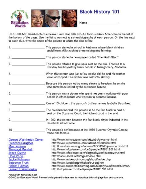 best ideas of black history worksheets for middle school