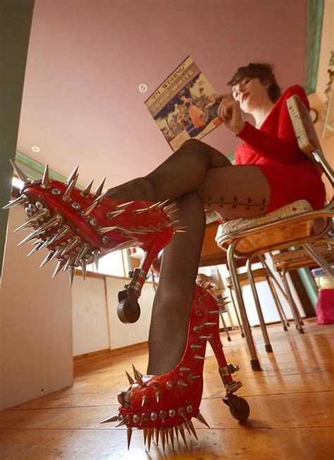 red high heels shoes  spikes fashion fail funny faxo
