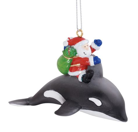 santa claus riding orca whale delivering gifts christmas