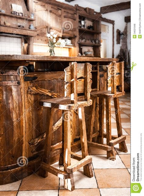 Two High Wooden  Ee  Bar Ee   Chairs In Country Style Stock Photo