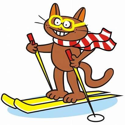 Ski Tomcat Vektor Lustige Humorous Animal Skifahrer