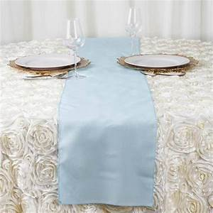 12x108quot Light Blue Polyester Table Runner EFavorMart