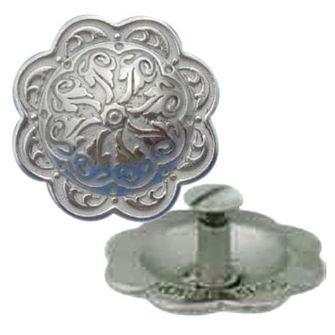 Horse Shoe Brand SS Floral Concho with Chicago Screw Back