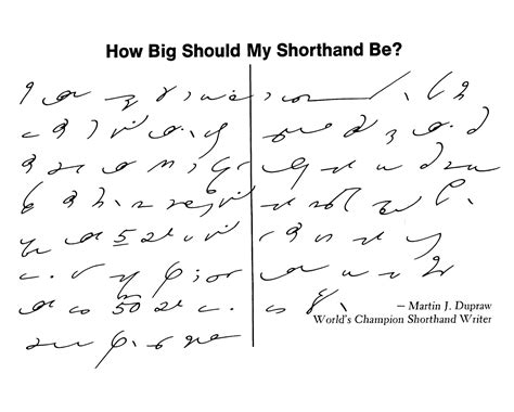 Gregg Shorthand How Big Should My Shorthand Be